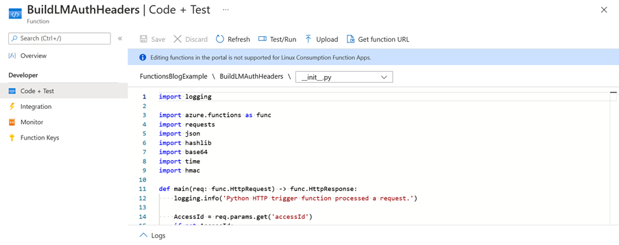 Azure Function Code + Test Example